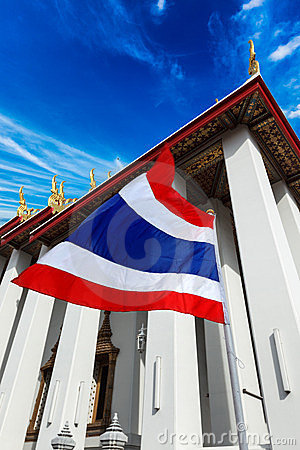 Thailand flag and Buddhist temple
