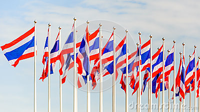 Thailand flag on a flag pole sky
