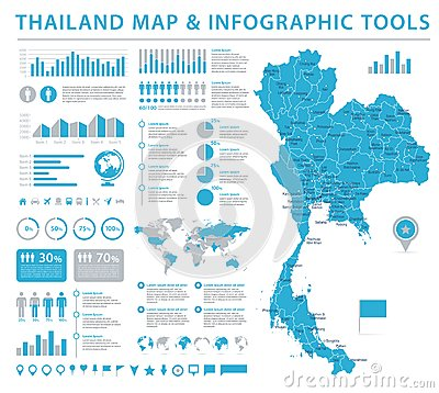 Free Thailand Map - Info Graphic Vector Illustration Stock Photo - 103679900