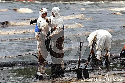 Thailand-milieu-olie-VERONTREINIGING Redactionele Afbeelding