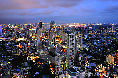 Thailand night view of the city of Bangkok