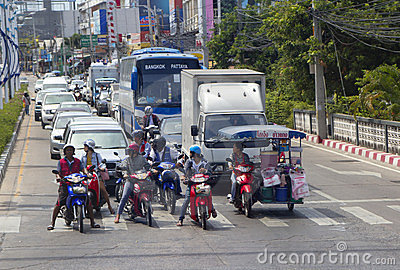 Thailand, Pattaya, traffic road Editorial Image