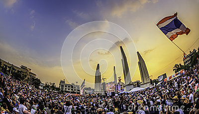 210,000 of Thailand s  protest Editorial Image