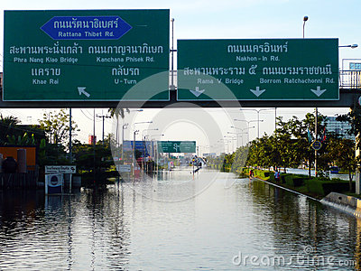 Thailand s Worst Flood Crisis at Nonthaburi Editorial Stock Image