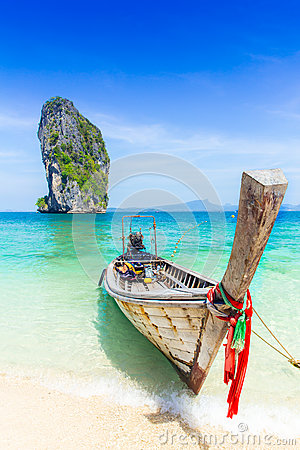 Free Thailand Summer Travel Sea, Thai Old Wood Boat At Sea Beach Krabi Phi Phi Island Phuket. Royalty Free Stock Images - 88131489