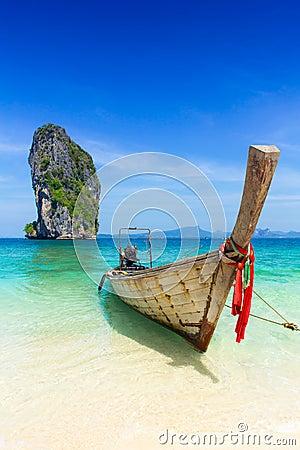Free Thailand Summer Travel Sea, Thai Old Wood Boat At Sea Beach Krabi Phi Phi Island Phuket Stock Photos - 89881763