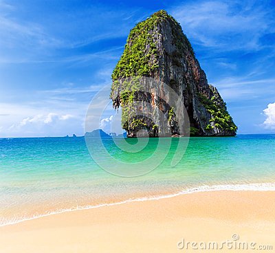 Thailand tropical island and sandy beach at sunny day in Asia