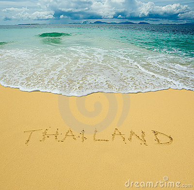 Thailand written in a sandy beach