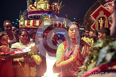 Thaipusam female devotee in blessing ceremony Editorial Stock Image