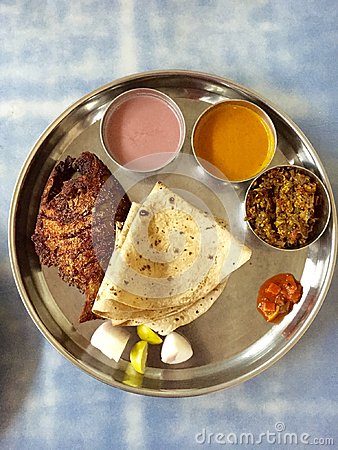 Free Thali - An Indian Meal Royalty Free Stock Photo - 56514885