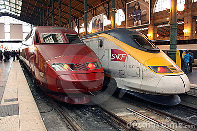 Thalys and TGV high speed trains in Paris Editorial Image