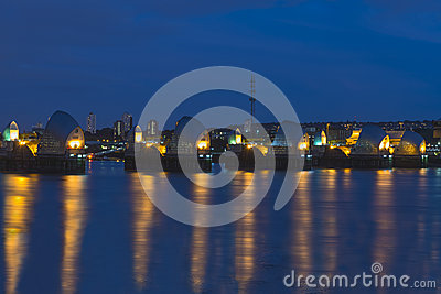 Thames Barrier in London UK, at night
