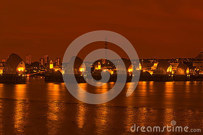 Thames Barrier, London UK - at night