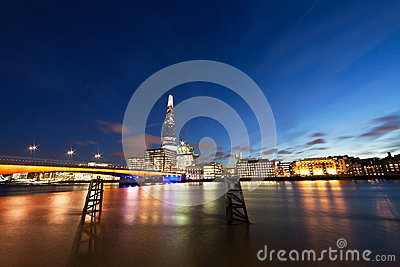Thames embankment - wide angle Editorial Stock Photo