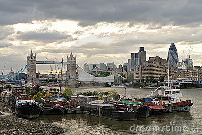 Thames houseboats, by Tower Bridge, London