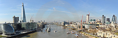 Thames London City bent panorama from Tower Bridge