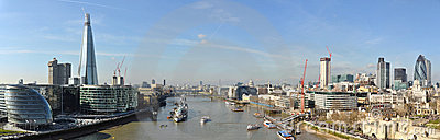 Thames and London City panorama from Tower Bridge