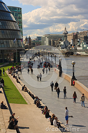 Thames path by Tower Bridge Editorial Stock Photo