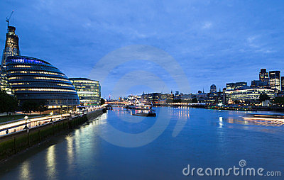Thames River at Night London Editorial Stock Photo