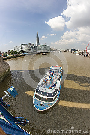 The Thames and the Shard from Tower Bridge Editorial Stock Photo