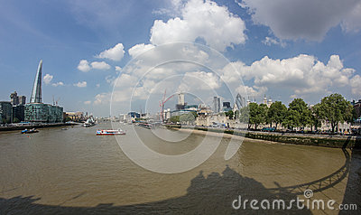 The Thames and the Shard from Tower Bridge Editorial Stock Image