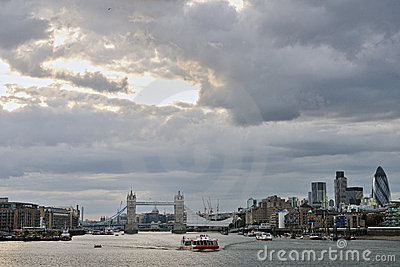 Thames with Tower Bridge London, other landmarks