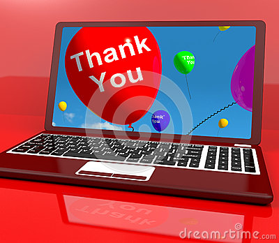 Thank You Balloon On Computer