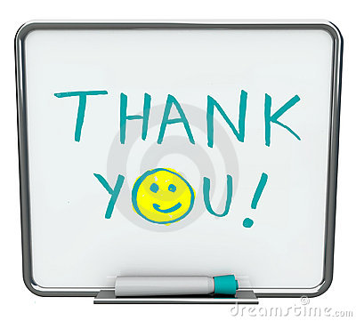 Thank You on Dry Erase Board