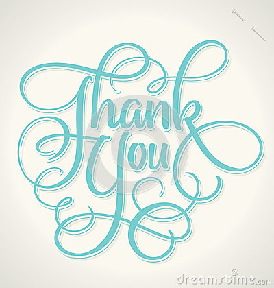 Free THANK YOU Hand Lettering (vector) Stock Photo - 40321240