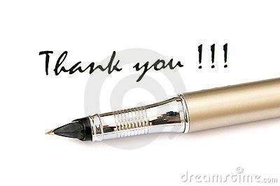 Thank you message and pen