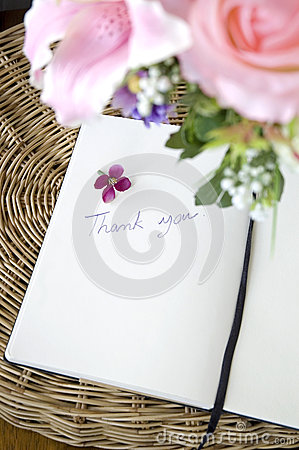 Thank you note with blossom