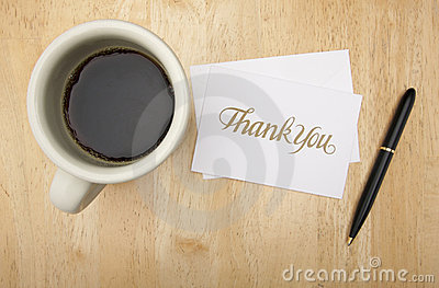 Thank You Note Card, Pen and Coffee