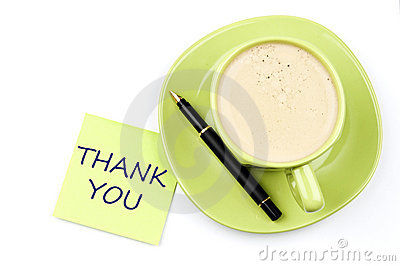 Thank you note and coffee