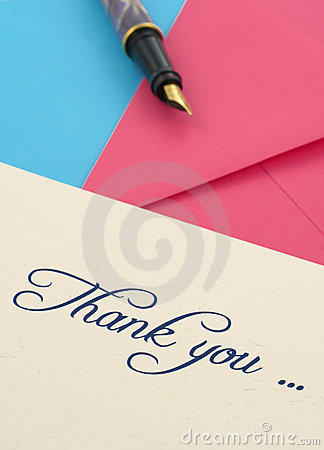 Thank you note and envelopes