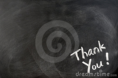 Thank you written on blackboard
