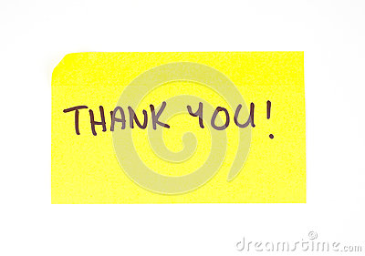 Thank You  written on a sticky note