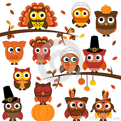 Free Thanksgiving And Autumn Themed Vector Owl Collection Royalty Free Stock Image - 37937716