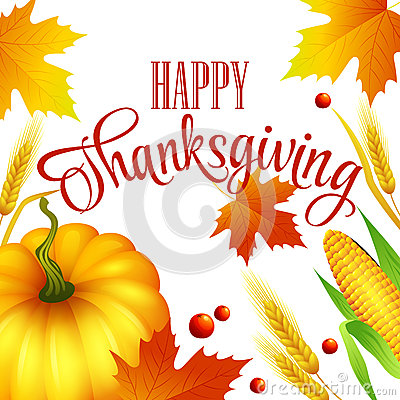 Free Thanksgiving Autumn Card.  Vector Illustration Royalty Free Stock Photography - 59020277