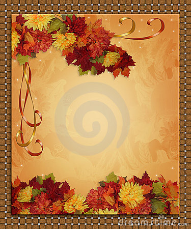 Free Thanksgiving Autumn Fall Border Ribbons Stock Image - 10832991