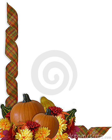 Thanksgiving Autumn Fall ribbons Border