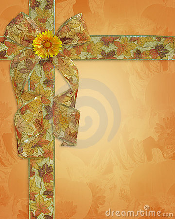 Thanksgiving Background fall ribbons