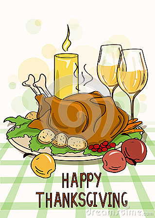 Thanksgiving card with roasted turkey bird