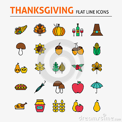 Free Thanksgiving Day Colorful Flat Line Icons Set Royalty Free Stock Image - 63588896