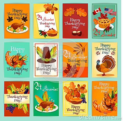 Free Thanksgiving Day Greeting Cards, Posters Set Royalty Free Stock Image - 79272036
