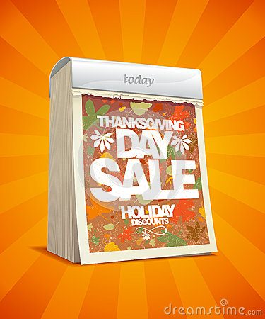 Thanksgiving day sale design in form of calendar.
