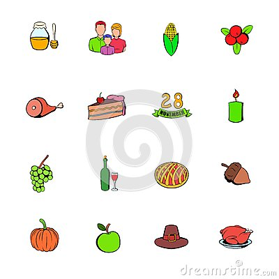 Thanksgiving Day set icons set cartoon Vector Illustration
