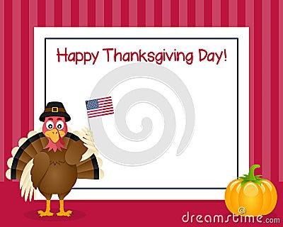 Thanksgiving Day Turkey Horizontal Frame Vector Illustration