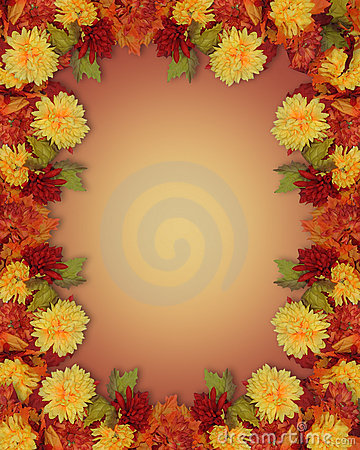 Thanksgiving Fall Autumn Border Mums Royalty Free Stock