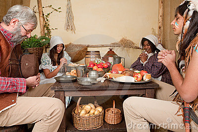 Thanksgiving family giving thanks