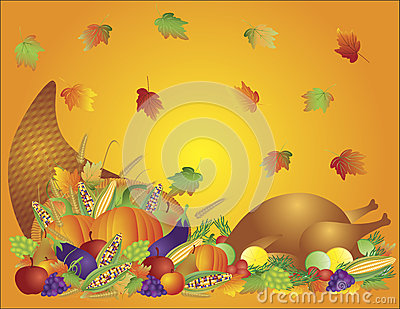 Thanksgiving Feast Cornucopia Turkey Background